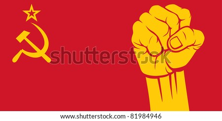 ussr fist (flag of ussr) - stock vector