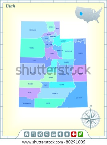 Utah State Map with Community Assistance and Activates Icons Original Illustration - stock vector