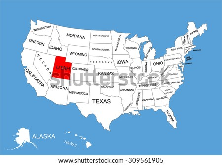 Utah State USA Vector Map Isolated Stock Vector 309561905 Shutterstock