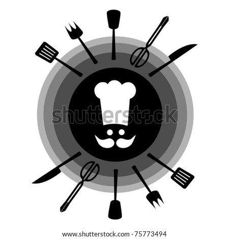 Utensils to cook with white cap - stock vector