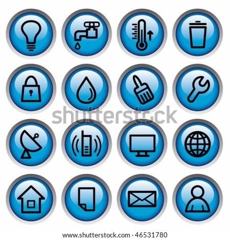 Utilities buttons - stock vector