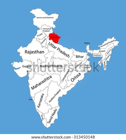 Outline Map Of Uttarakhand. Index With Outline Map Of ...