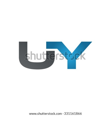 UY company linked letter logo blue