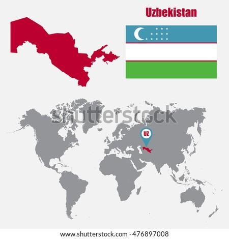 Uzbekistan map on world map flag stock vector 476897008 shutterstock gumiabroncs Images
