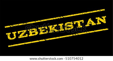 Uzbekistan watermark stamp. Text tag between parallel lines with grunge design style. Rubber seal stamp with dust texture. Vector yellow color ink imprint on a blue background.