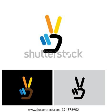 v hand victory symbol vector logo icon. this icon can also represent victory, winner, winning, success, progress, triumph, peace - stock vector