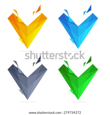V letter in trendy polygonal crystal style, vector design template elements - stock vector