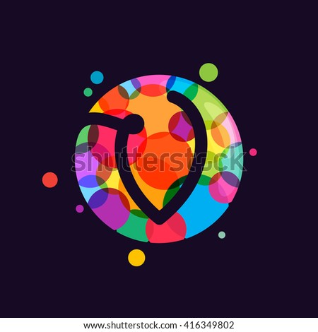 V letter logo with mosaic pattern. Abstract multicolored vector design template elements for your application or corporate identity. - stock vector