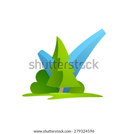 V letter or check mark, verification Eco logo, design template elements  - stock vector