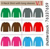 V-Neck Shirt with long sleeves. vector template design - stock photo