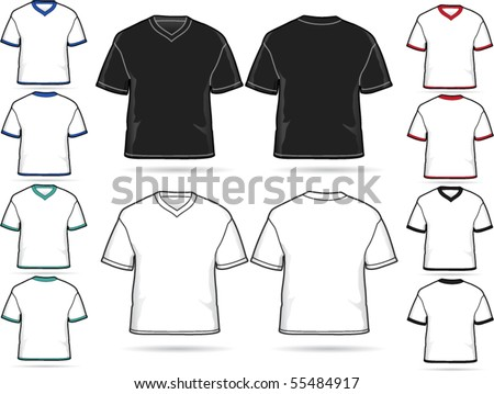 V-neck T-shirt Design - vector illustration set - stock vector