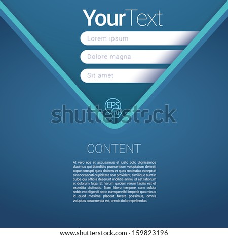 V shape, Blue color edition of a scalable abstract geometric flat gui design for placing objects, images, icons, photos, and content. For print, for desktop, application or for universal use. - stock vector