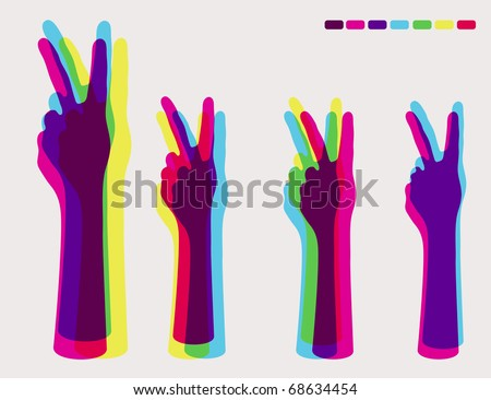 V sign - Hand Giving Peace Sign - stock vector