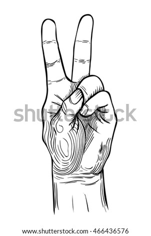 V sign hand. Vector illustration isolated.  engraving style.