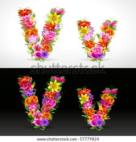 V, vector colorful flower font - stock vector