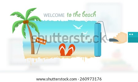 Vacation and travel banner with tropical seaside. Eps10 - stock vector