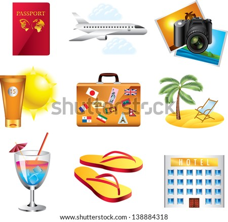 vacation and travel icons detailed vector set