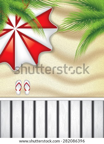 Vacation at the seaside with a red beach umbrella from above and flip-flop on the sand - stock vector