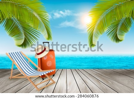 Vacation background. Beach with palm trees and blue sea. Vector. - stock vector