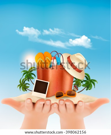 Vacation concept. Beach with a palm tree, a photograph and a beach bag in hands. Vector. - stock vector