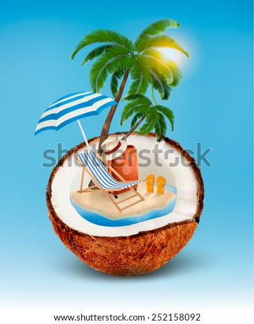 Vacation concept. Palm tree, suitcase and an umbrella in a coconut. Vector. - stock vector