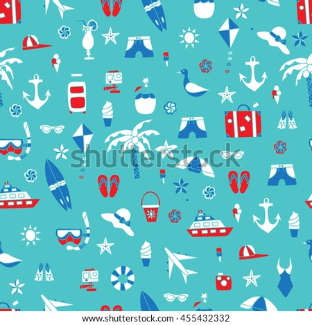 Vacation doodles vector illustration seamless pattern. Handmade icons collection of summertime symbols