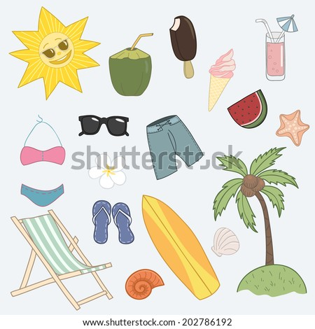 Vacation Icon Set. Day At The Beach. - stock vector