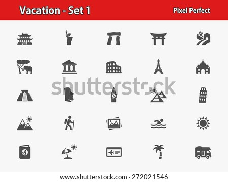 Vacation Icons. Professional, pixel perfect icons optimized for both large and small resolutions. EPS 8 format. - stock vector