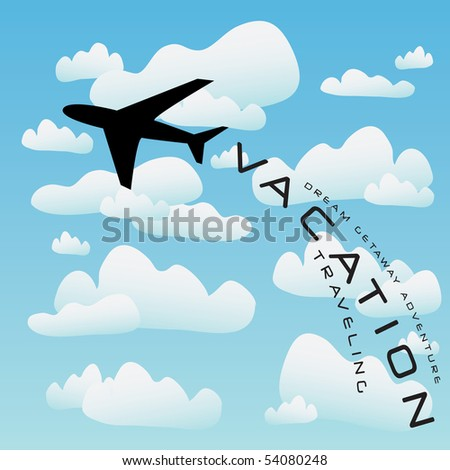Vacation illustration with a silhouette of a commercial airplane taking off into the clouds. - stock vector