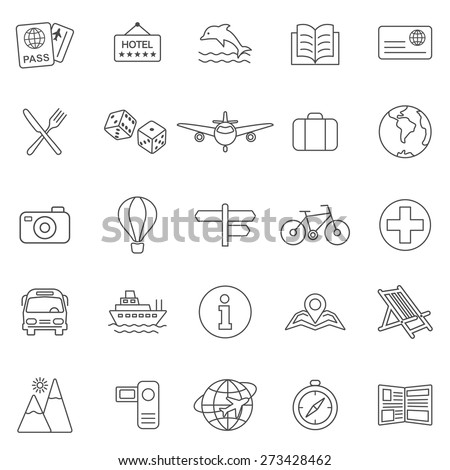 Vacation line icons set.Vector - stock vector