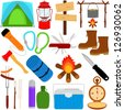 Vacation - Outdoor Travel : Trekking and Camping vector icons / symbol collection - stock vector