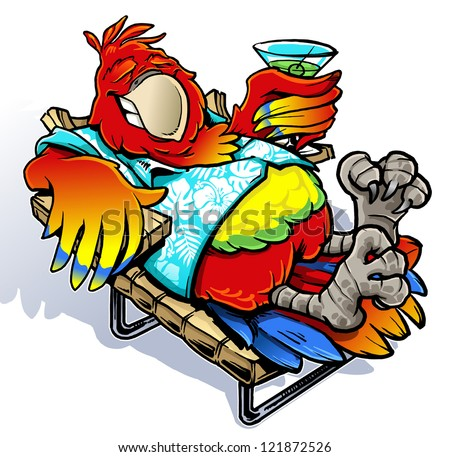vacation parrot - stock vector
