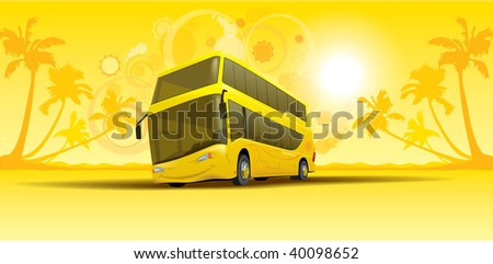 vacation summer bus - stock vector