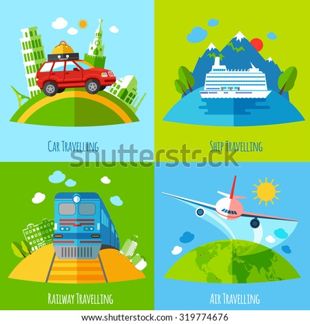 Vacation travel 4 flat icons square with ship rail aviation and land transport abstract isolated vector illustration - stock vector