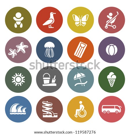 Vacation, Travel & Recreation, icons set - Retro color version - stock vector