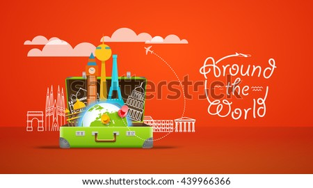 Vacation travelling composition with the open bag. Around the world concept - stock vector