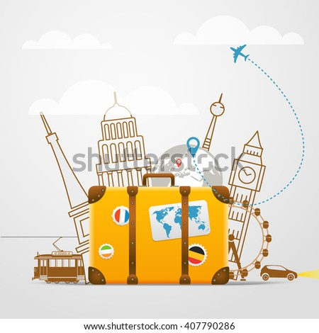 Vacation travelling composition with yellow bag - stock vector