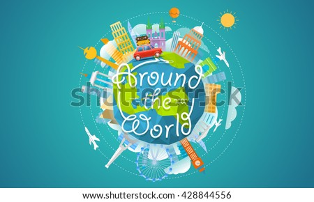 Vacation travelling concept. Vector travel illustration with the car. Around the world