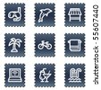 Vacation web icons, navy stamp series - stock