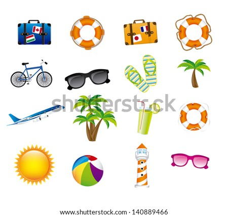 vacations icons over white background vector illustration