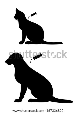 Vaccination of  dog and cat - stock vector