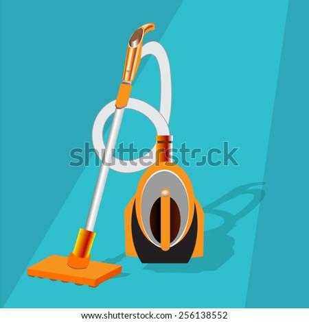 Vacuum Cleaner in flat design  - stock vector