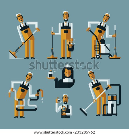 vacuum cleaner worker icons - stock vector