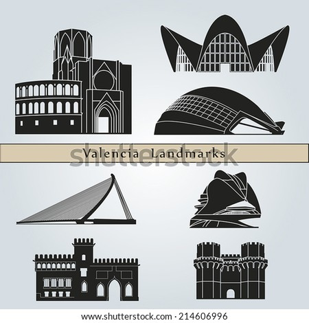 Valencia landmarks and monuments isolated on blue background in editable vector file - stock vector