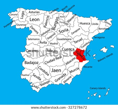Valencia Map Spain Province Vector Map Stock Vector 327278672