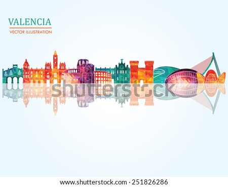 Valencia skyline detailed silhouette. Vector illustration - stock vector