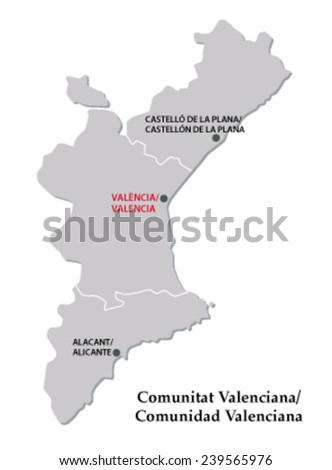 valencian community map - stock vector