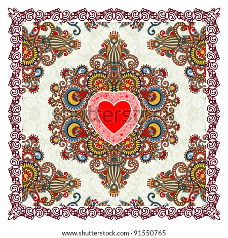 Valentin Day card with heart - stock vector