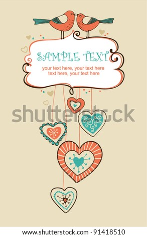 Valentin`s Day card with birds - invitation for party or wedding - stock vector