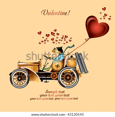 Valentine background with retro car. - stock vector